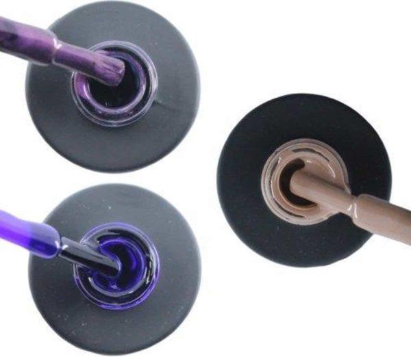 Influence Gellac 3 x 10 ml - PASSIONATEPURPLE & PRECIOUSPURPLE & NAKEDNUDE - UV / LED Gellak - Gel nagellak - Gel lak - Paars / Glitter / Lila Paars Nude / Bruin