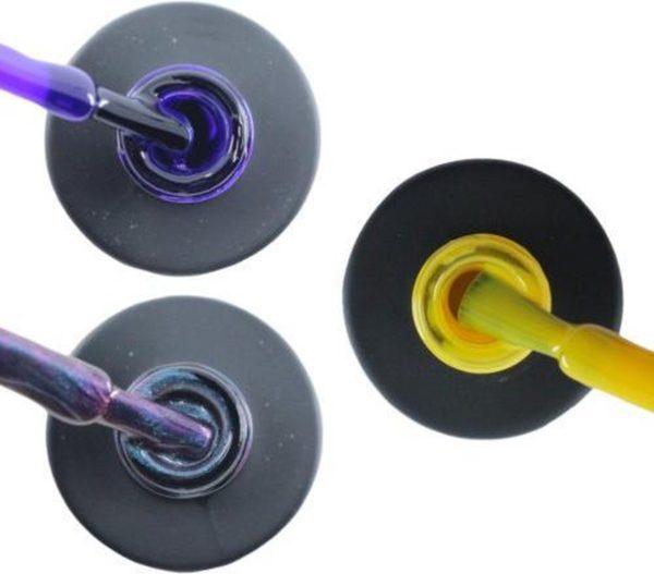 Influence Gellac 3 x 10 ml - PRECIOUSPURPLE & NIGHTCATEYE & SHINYYELLOW - UV / LED Gellak - Gel nagellak - Gel lak - Paars Blauw / Glitter / Magneet / Groen Geel