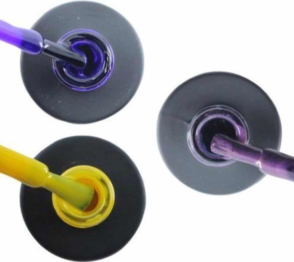 Influence Gellac 3 x 10 ml - PRECIOUSPURPLE & SHINYYELLOW & PASSIONATEPURPLE - UV / LED Gellak - Gel nagellak - Gel lak - Paars Geel Paars / Glitter / Lila