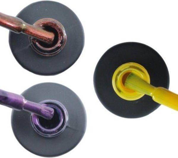Influence Gellac 3 x 10 ml - ROSECATEYE & PASSIONATEPURPLE & SHINYYELLOW - UV / LED Gellak - Gel nagellak - Gel lak - Rood / Glitter / Bordeaux Paars / Glitter / Lila Geel