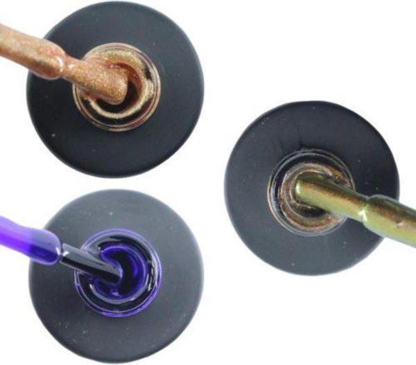 Influence Gellac 3 x 10 ml - ROSEGOLD & PRECIOUSPURPLE & CHAMPAGNECATEYE - UV / LED Gellak - Gel nagellak - Gel lak - Goud Paars Bruin