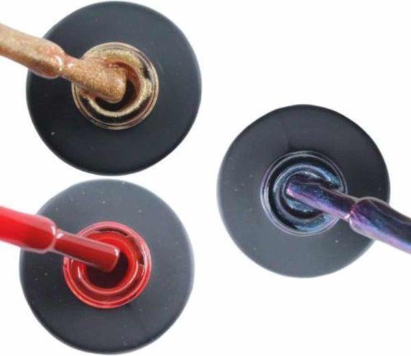 Influence Gellac 3 x 10 ml - ROSEGOLD & SASSYRED & NIGHTCATEYE - UV / LED Gellak - Gel nagellak - Gel lak - Goud Rood Blauw / Glitter / Magneet / Groen