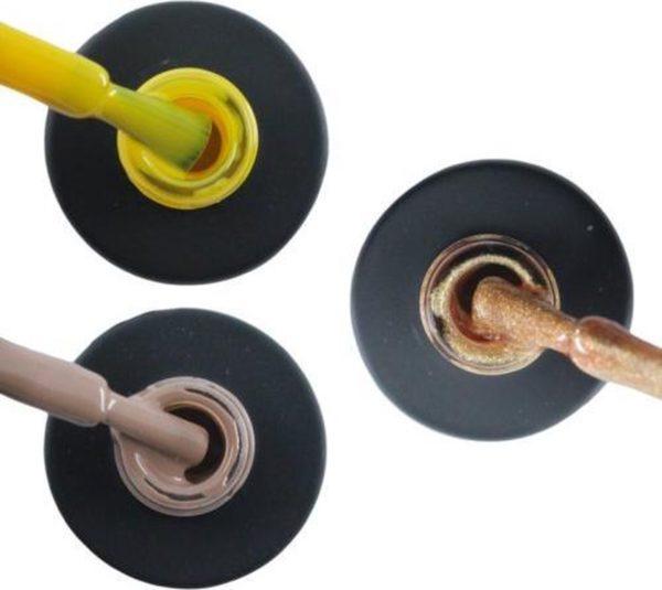 Influence Gellac 3 x 10 ml - SHINYYELLOW & NAKEDNUDE & ROSEGOLD - UV / LED Gellak - Gel nagellak - Gel lak - Geel Nude / Bruin Goud