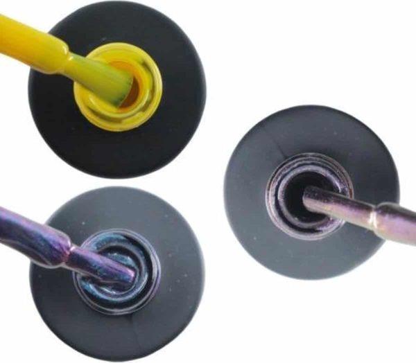 Influence Gellac 3 x 10 ml - SHINYYELLOW & NIGHTCATEYE & VIOLETCATEYE - UV / LED Gellak - Gel nagellak - Gel lak - Geel Blauw / Glitter / Magneet / Groen Paars / glitter / blauw