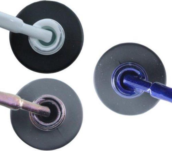 Influence Gellac 3 x 10 ml - SNOWWHITE & VIOLETCATEYE & DENIMBLUE - UV / LED Gellak - Gel nagellak - Gel lak - Wit Paars / glitter / blauw Blauw