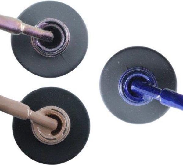 Influence Gellac 3 x 10 ml - VIOLETCATEYE & NAKEDNUDE & DENIMBLUE - UV / LED Gellak - Gel nagellak - Gel lak - Paars / glitter / blauw Nude / Bruin Blauw