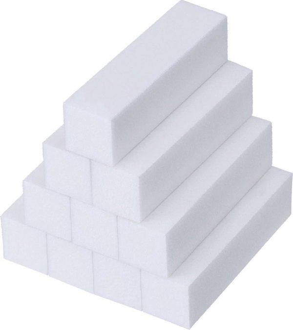 J Belgique Buffer Blok Nagelvijl Set 10x Wit  Nagel Bufferblok  Manicure   Nagelvijlen Voor Gelnagels En Acrylnagels