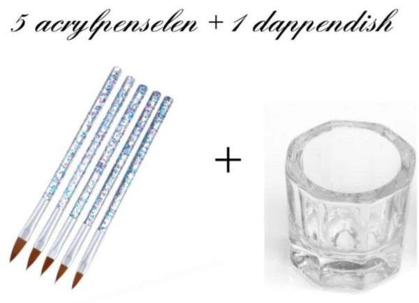 Jawes- Acrylpenselen inclusief dappendish - 5+1 stuks - Acrylnagels- Arcyl Penselen- Glazen dappendish- Acryl- Polygel- Nagellak- Gelnagels