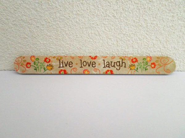 Jean Products - Nagelvijl - live love laugh - Beige - 17,8 cm lang - 2 cm breed - 4 mm dik - 1 nagelvijl in een hoesje