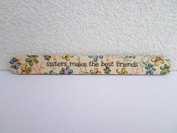 Jean Products - Nagelvijl - sisters make the best friends - Beige - 17,8 cm lang - 2 cm breed - 4 mm dik - 1 nagelvijl in een hoesje