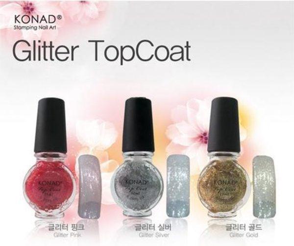 KONAD Glitter topcoat 'PINK GLITTER', met roze accent, 11 ml voor stamping nail art. Te gebruiken met stempellak, maar ook als topcoat nagellak!