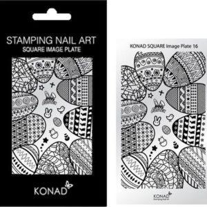KONAD Square Image Plate 16 met 19 stamping nail art geïnspireerd door ' PASEN / EASTER '.
