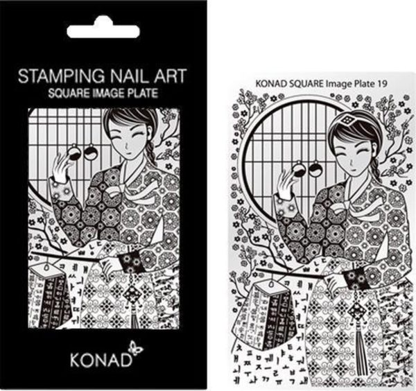 KONAD Square Plates 19 met verschillende stempel designs.