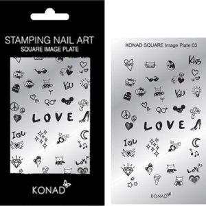 KONAD Square nail art sjablonen 03 met 34 ' LOVE ' nagel figuurtjes.