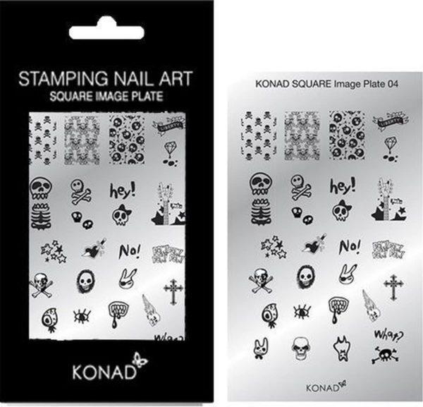 KONAD Square nail stempel 04 met 28 ' SKULL ROCK N ROLL ' stempel motieven.