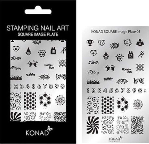 KONAD Square stempel sjablonen plaat 05 met 37 ' VOETBAL ' nagel sjablonen.