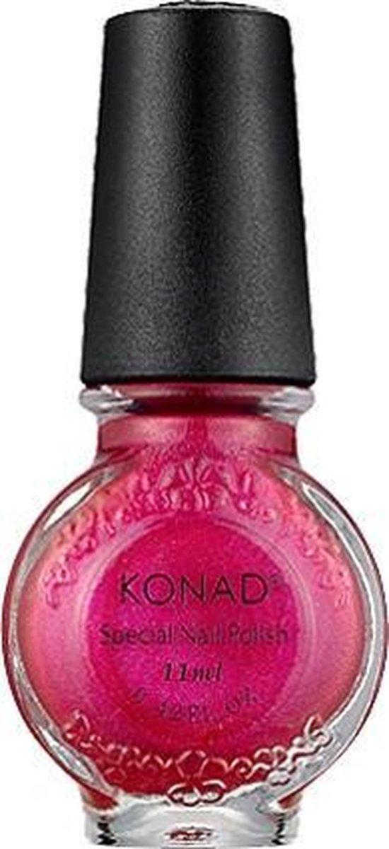 KONAD nagellak voor stempel ROZE ROOD / PINKY RED 55, 11 ml voor stamping nail art, overbreng het figuur van het stempel sjabloon op uw nagel middels de stempeltechniek!