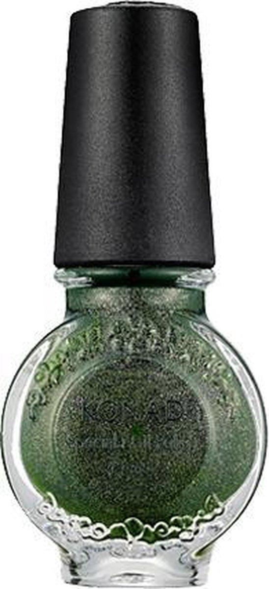KONAD stempel nagellak GLITTER GROEN / MOSS GREEN 43. Sneldrogende kwaliteits stempel nagellak van Konad. Speciale lak voor ste
