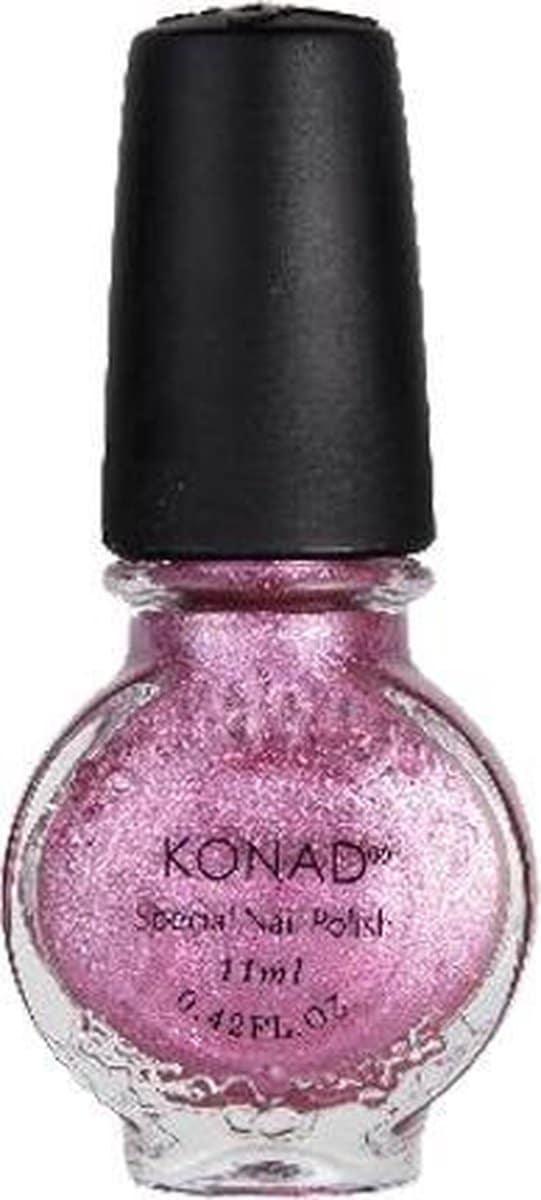 KONAD stempel nagellak GLITTER ROZE / VIVID PINK 41, 11 ml, nail art stempel set uitbreiden of compleet maken? Nieuwe kleuren stempel nagellak, het beste voor uw nagels!