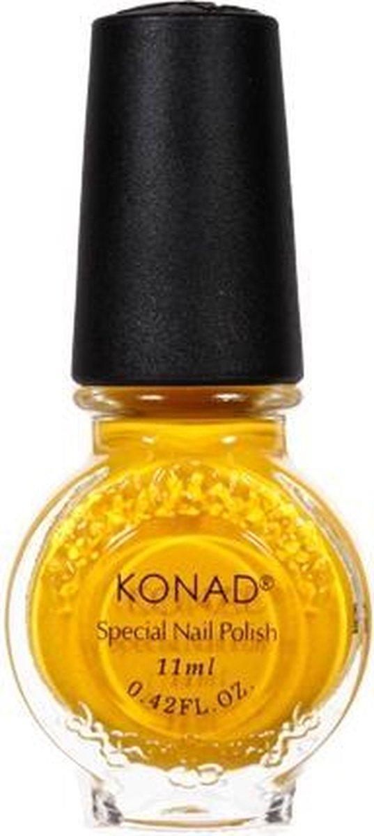 KONAD stempellak GEEL / YELLOW 06, 11 ml. Iets anders gebruiken dan nagelstickers? Snelle nail art met Konad stempel producten voor nagels.