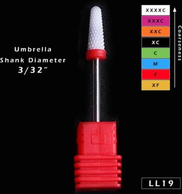 Keramische nagelboortje voor manicure, pedicure en nail art. Fijne korrel, paraplu top. Geweldig voor zowel geavanceerde gebruikers als amateurs.