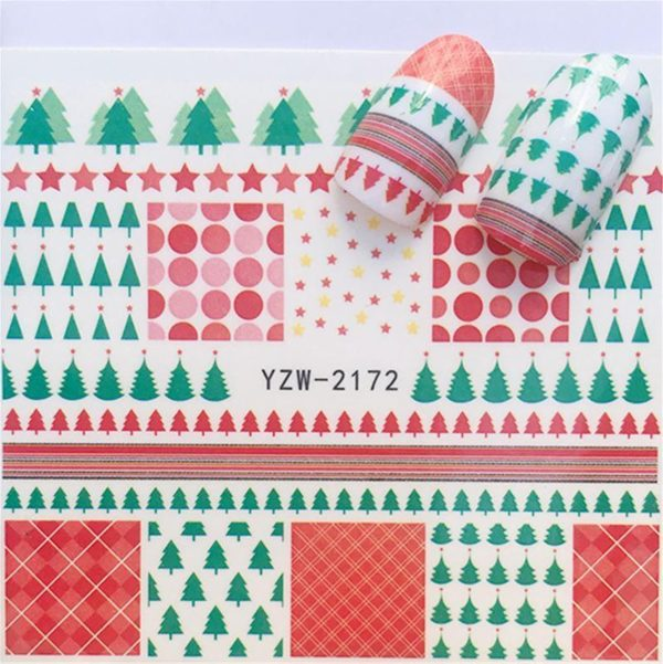 Kerst Nagelstickers - Kerstmis Nagel Stickers - Christmas Nail Art - Nagel Decoratie - Nagelversiering - Nageldecoratie - 3D Nail Vinyls - French Manicure Stickers - Kerstbomen