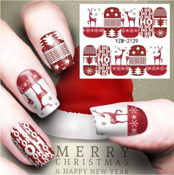 Kerst Nagelstickers - Kerstmis Nagel Stickers - Christmas Nail Art - Nagel Decoratie - Nagelversiering - Nageldecoratie - 3D Nail Vinyls - French Manicure Stickers - Rode Kerst