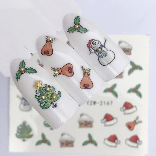 Kerst Nagelstickers - Kerstmis Nagel Stickers - Christmas Nail Art - Nagel Decoratie - Nagelversiering - Nageldecoratie - 3D Nail Vinyls - French Manicure Stickers - Sneeuwpop