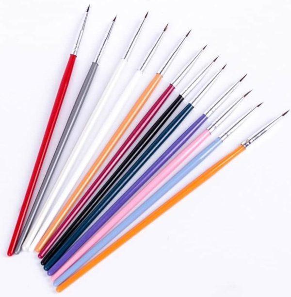 Kleurrijke Nail Art Liner Dun Schilderen Borstel Ontwerp Puntjes Pen Acryl Fijne Tips Tekening Lijnen Bloem Tool-Geen