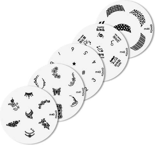 Konad imageplate set 5 stuks - M 40 t/m M44 - stempel nailart plate - stempel nailart plate-Nagel-stempel - nailart - plate