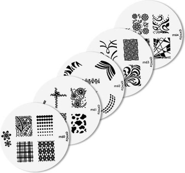Konad imageplate set 5 stuks - M60 t/m M64 - stempel nailart plate -stempel nailart plate-Nagel-stempel - nailart - plate