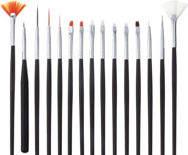 Kwastenset voor nagels - set met 15 penselen - nailart/manicure