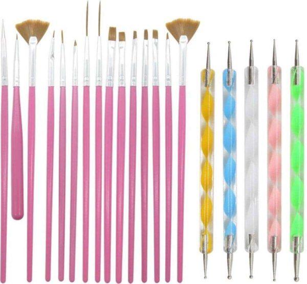 LOUZIR Luxe 20 delige Roze nail art set - set van 15 Penselen -set van 5 dotting tools