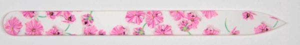 MILANO Professionele Kristal Glas Nagelvijl, Glass Nailfile, 1-zijdig Flowers