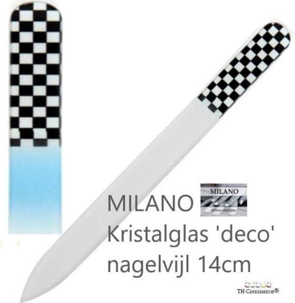 MILANO Professionele Kristal Glas Nagelvijl, Glass Nailfile, tweezijdig, Black & White