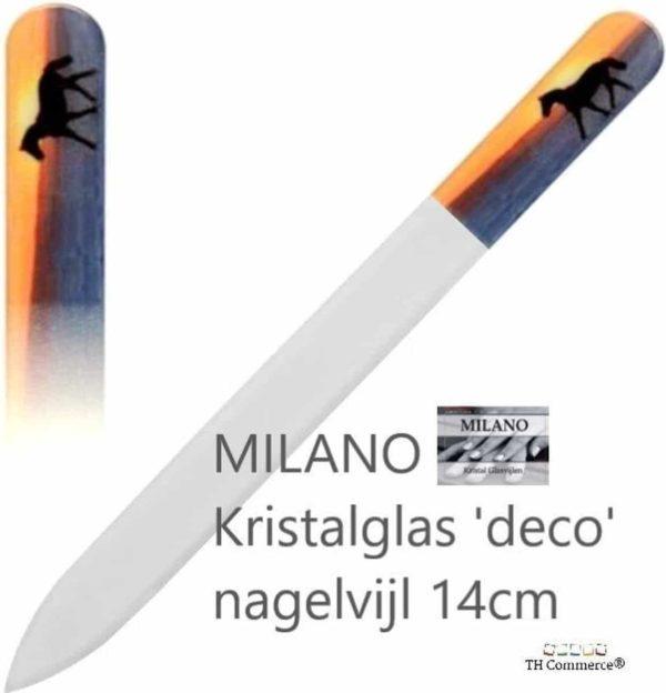 MILANO Professionele Kristal Glas Nagelvijl, Nagels, Glass Nailfile, tweezijdig, Paard Horse