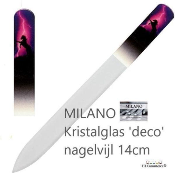 MILANO Professionele Kristal Glasvijl Nagelvijl - Paard - Nagels - Glass Nailfile - tweezijdig - nr 1274