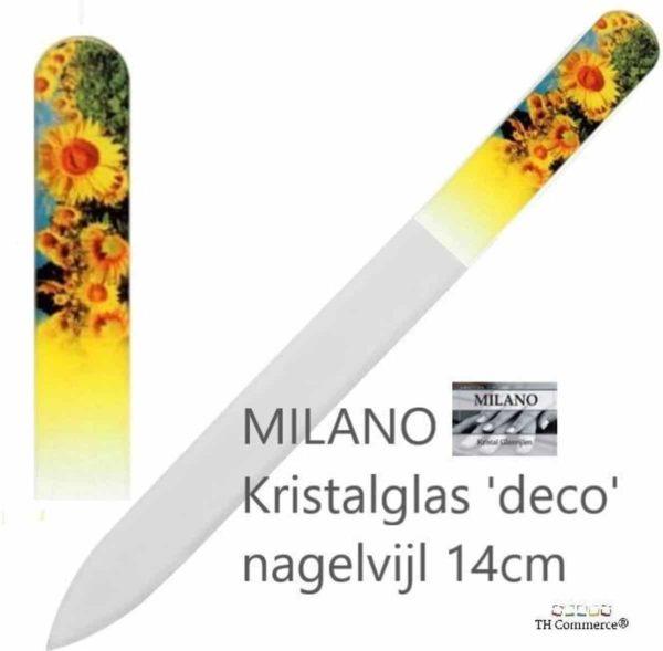 MILANO Professionele Kristal Glasvijl Nagelvijl - Zonnebloem - Nagels - Glass Nailfile - Tweezijdig - nr 1281