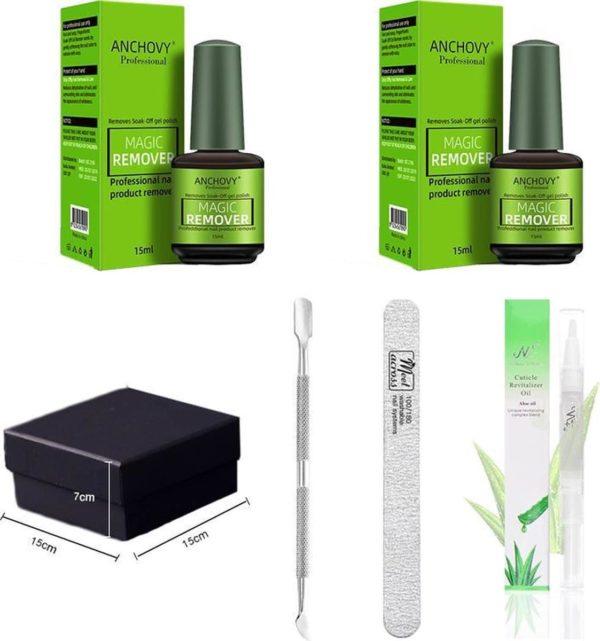Magic soak off nailpolish remover - Magische Gellak remover - 2 x 15 ml!!! - Inclusief nagelvijl, bokkepootje en olie - Nagellak verwijderaar - Gellak remover -