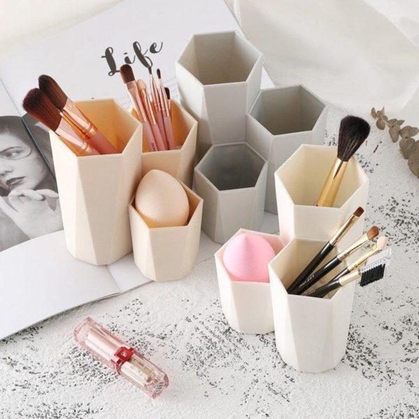 Make-Up Organizer houder-3 in1-Cosmetische Make-Up Borstel- Blush-opbergdoos Make-up kwast houder-Organizer -Gereedschap Pen- Opslag Make Nagellak -Cosmetische houder Doos- Beige