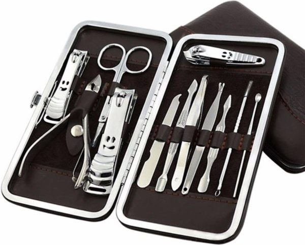 Manicure & Pedicure Set met Lederen Etui - 12-delig