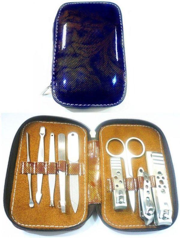 Manicure en pedicure set 9 delig in opberghoes - Blauw