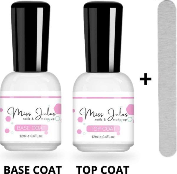 Miss Jules® Base & Top Coat 24 ml - Gellak - Blijvend Glanzende Nagels - Incl. Nagelvijl