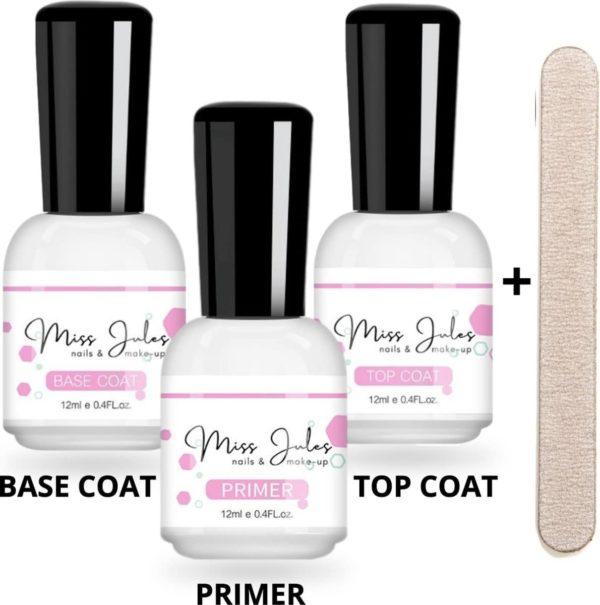 Miss Jules® Base & Top Coat & Primer 36 ml - Gellak - Goede aanhechting - Blijvend Glanzende Nagels - Incl. Nagelvijl