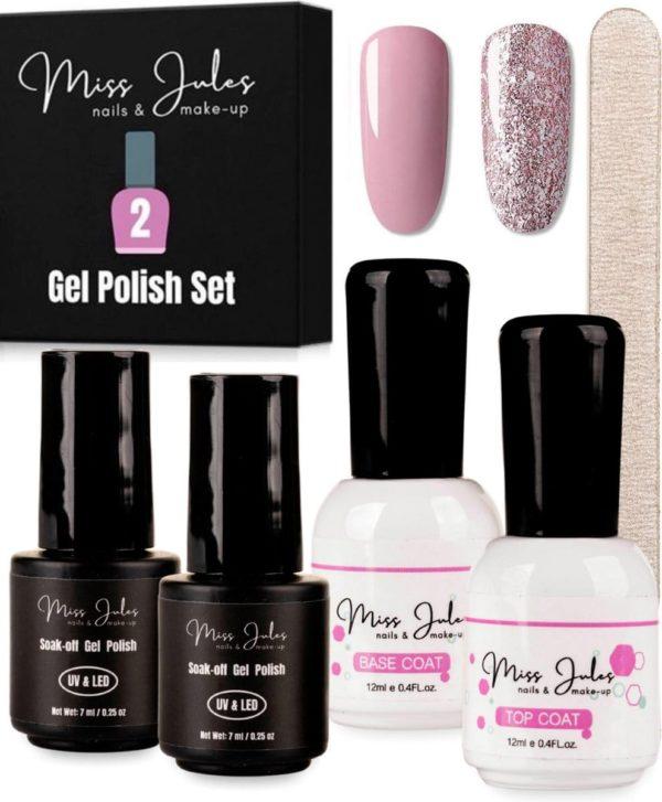 Miss Jules® Complete Gellak Starterspakket - Nude & Glitter - Nagellak - Glanzend en Dekkend Resultaat - Incl. Nagelvijl
