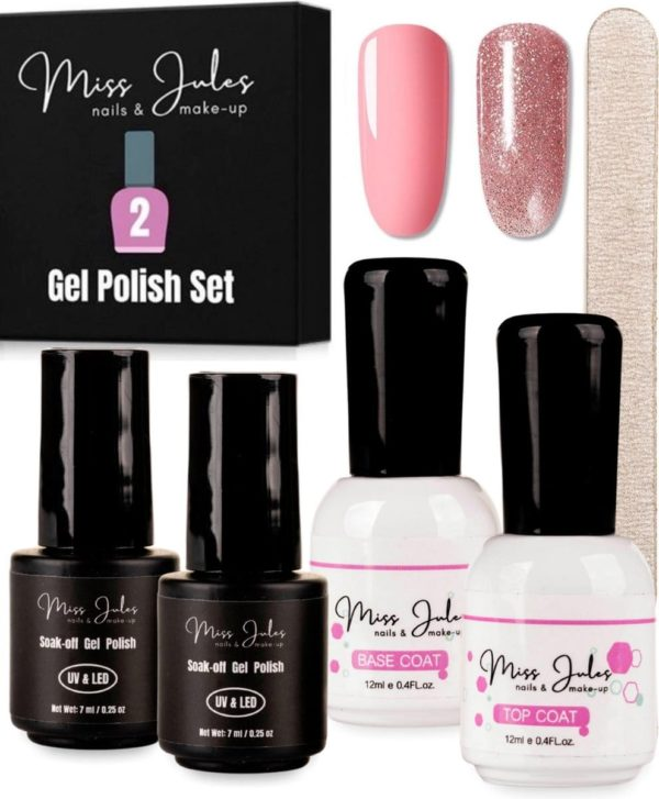 Miss Jules® Complete Gellak Starterspakket - Roze & Glitter - Nagellak - Glanzend en Dekkend Resultaat - Incl. Nagelvijl