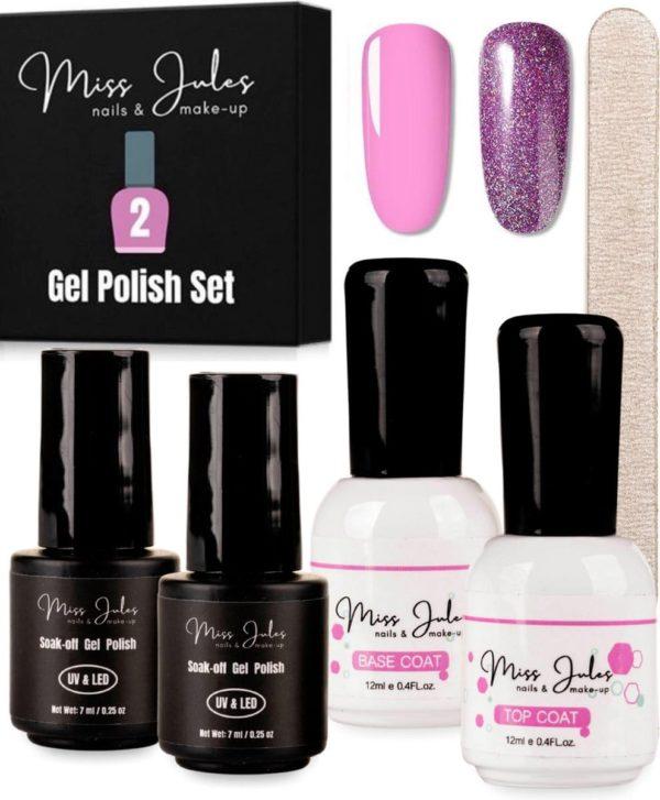 Miss Jules® Complete Gellak Starterspakket - Roze & Lila Glitter - Nagellak - Glanzend en Dekkend Resultaat - Incl. Nagelvijl