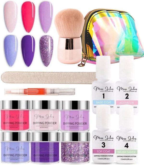 Miss Jules® Complete Set - Dipping Powder Starters Kit - 6 Kleuren Paars/Lila - Acryl Nagels Starterspakket