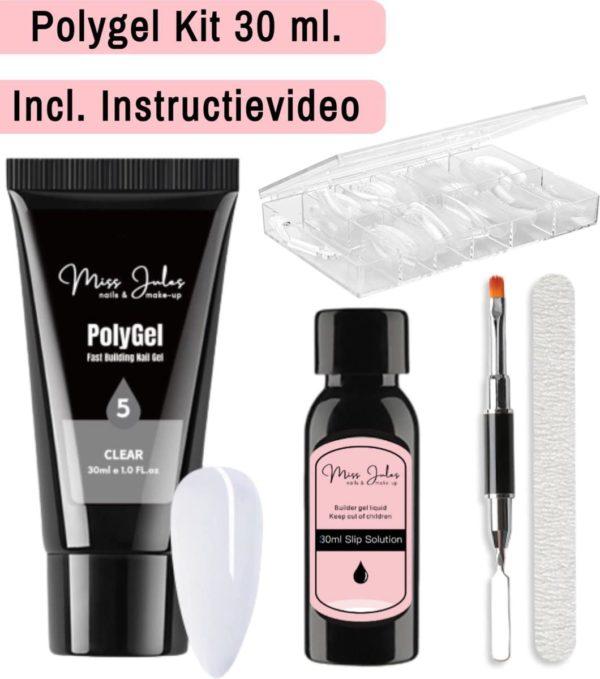 Miss Jules® Polygel Kit 30 ml - Clear - Incl. Slip Solution, Nagelvijl, Nageltips & Duo Penseel
