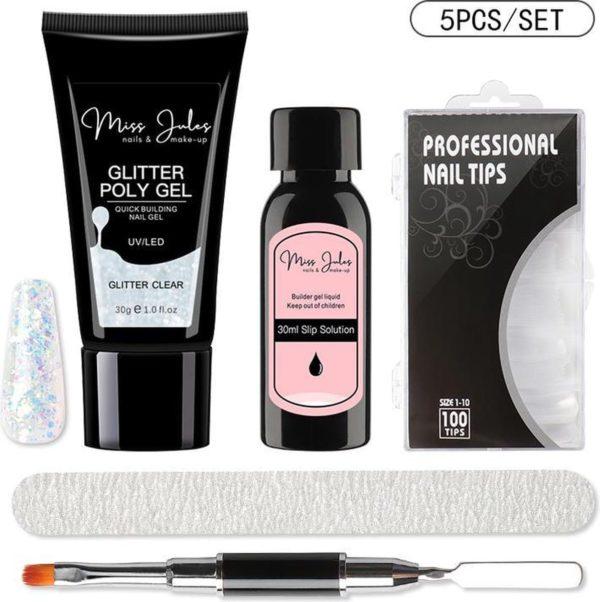 Miss Jules® Polygel Kit 30 ml - Glitter Clear - Incl. Slip Solution, Nagelvijl, Nageltips & Duo Penseel